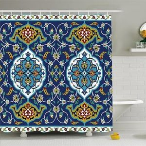 Shower Curtain Moroccan Flower Pattern Print NEW